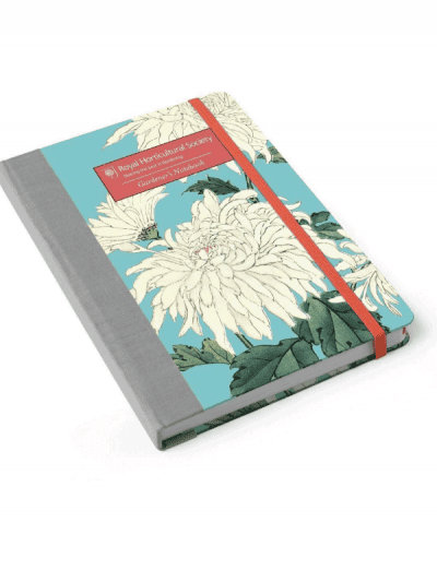 Burgon & Ball RHS gardening notebook with Chrysanthemum print and red page holder