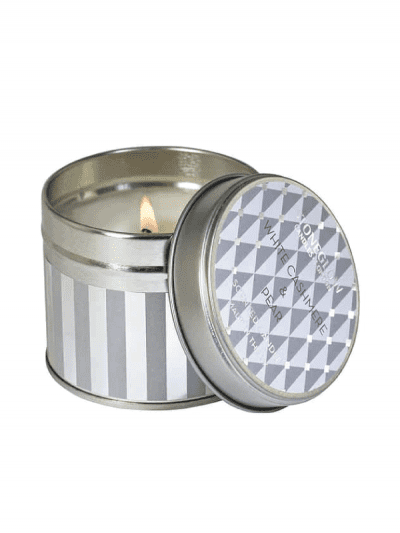 Stone Glow white cashmere and pear candle in tin