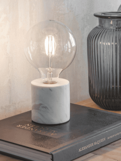 Garden Trading Table Lamp White with marble base on living room table