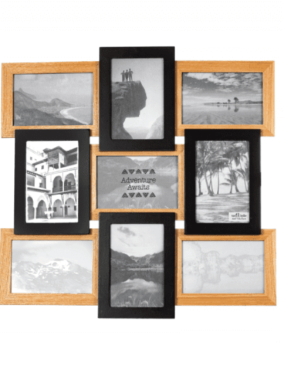 9 window photo frame in wood and black