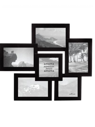 Black 6 slot photo frame on white background