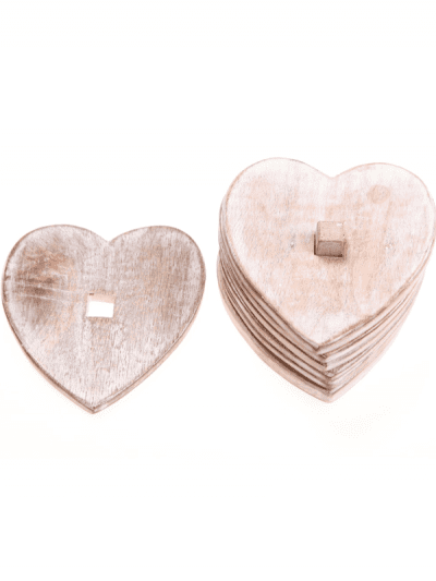 wooden coasters in a heart shape in a stack of 6