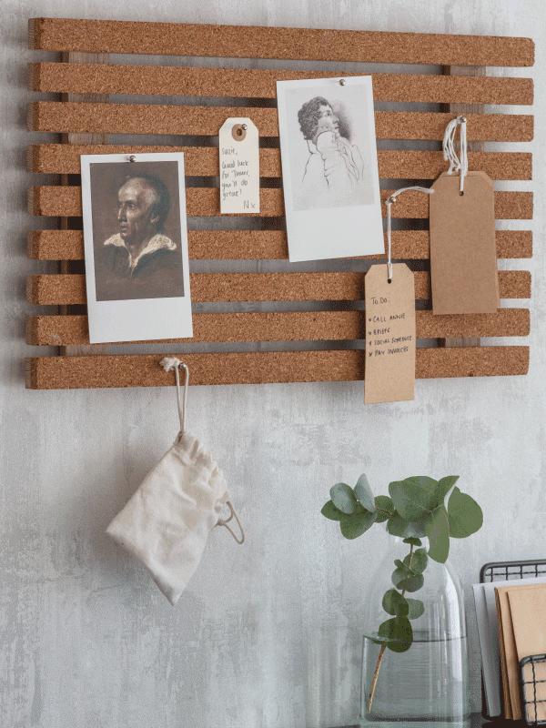 garden trading cork slatted memo board