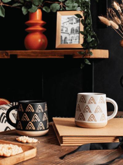 black triangle mug sat on a table