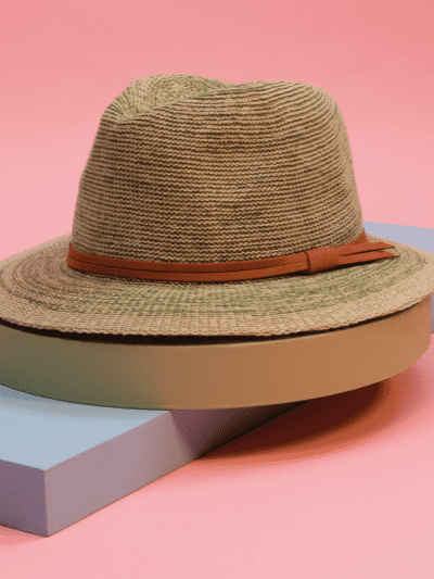 powder seagrass and tan summer hat