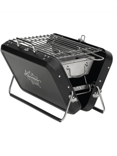 Black suitcase style outdoor bbq on a white background
