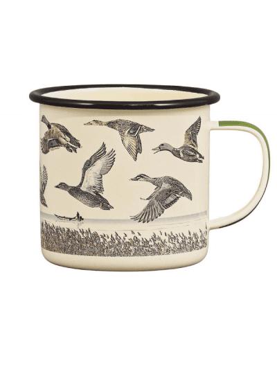 lakes and birds print on enamel mug, gifts