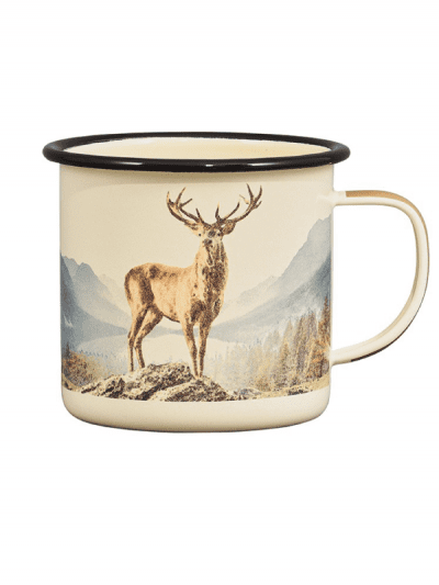 enamel mug with deer print, gifts for him