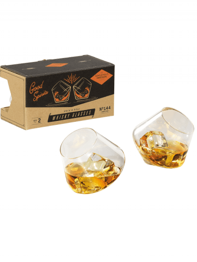 rocking whisky glasses in front of gentleman hardware gift box, gifts for him