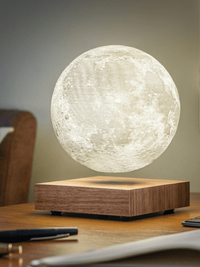 levitating moon lamp in a living space