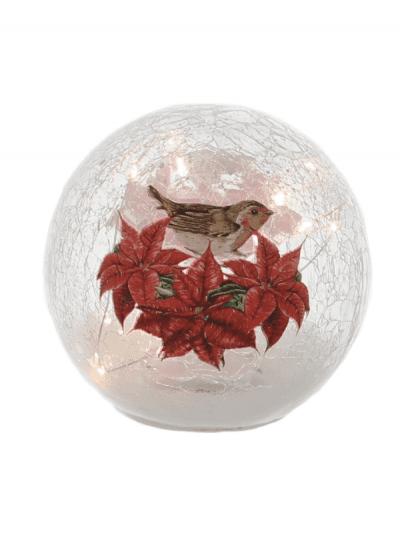festive poinsettia and robin crackle ball