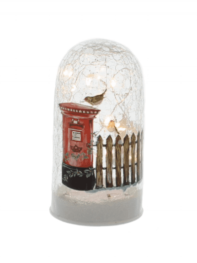 festive postbox and fence crackle cloche