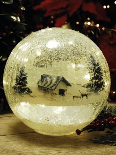festive lodge scene crackle ball
