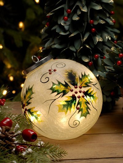festive battery operated holly crackle ball