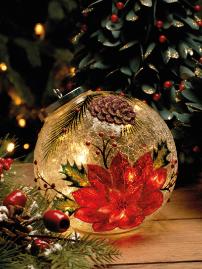 festive battery operated poinsettia crackle ball