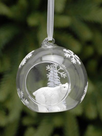 festive clear glass open bauble with polar bear inside