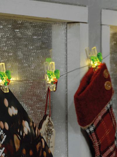 festive light up holly pegs