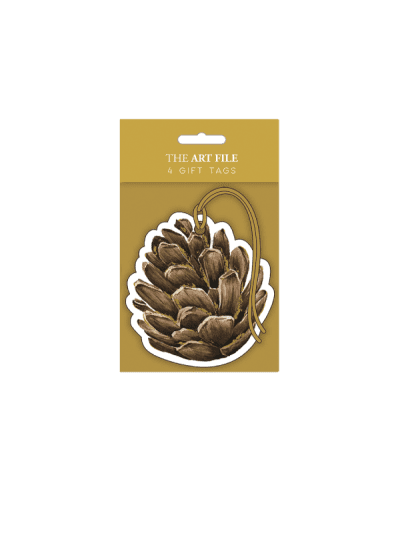 the art file decadence pine cone gift tags